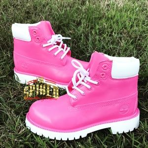 Custom painted pink and white timberland
